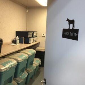 Heated feed room.