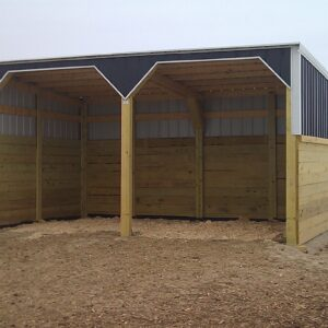 Shelter are lined with stall skins and bedded with shavings.